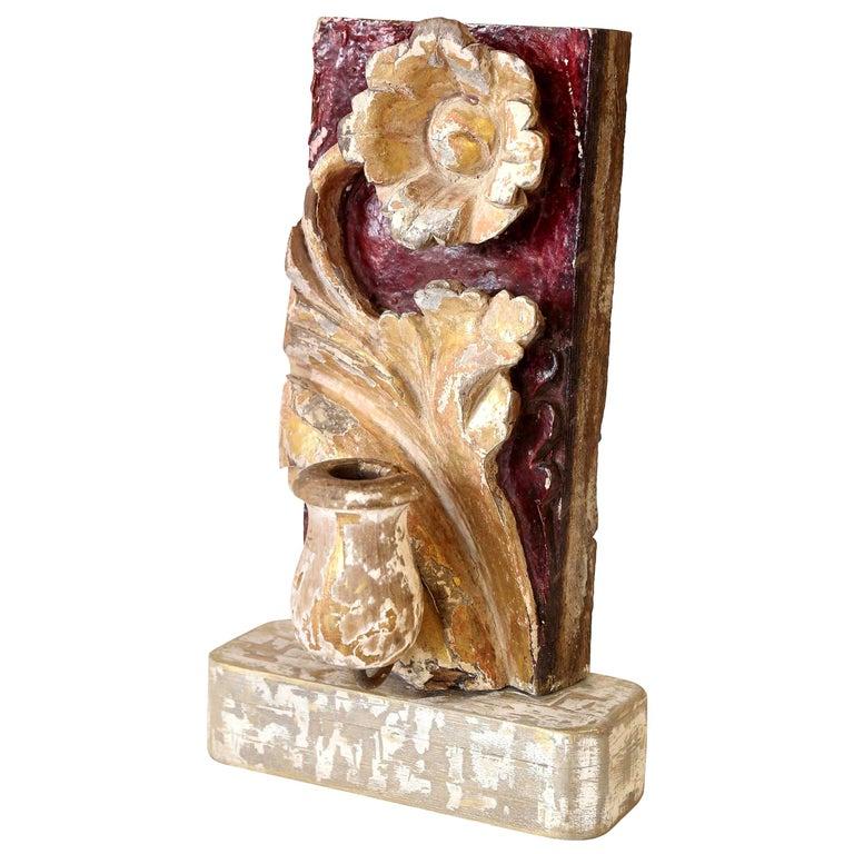 Hand Carved Giltwood Candleholder For Sale 2