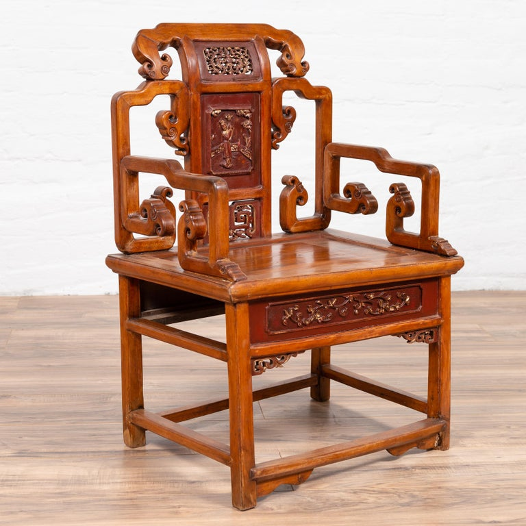 Hand Carved Antique Chinese Chair With Natural Wood Patina