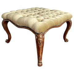 Hand Carved Antique Victorian Nutwood and Deeply Buttoned Green Velor Foot Stool