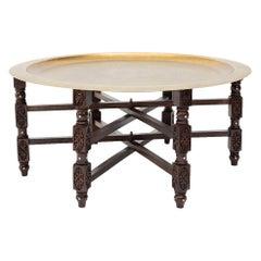 Hand Carved Arabesque Design Brass Table.