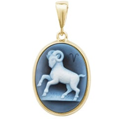 Hand-Carved Aries Zodiac Agate Cameo 925 Sterling Silver Pendant Necklace