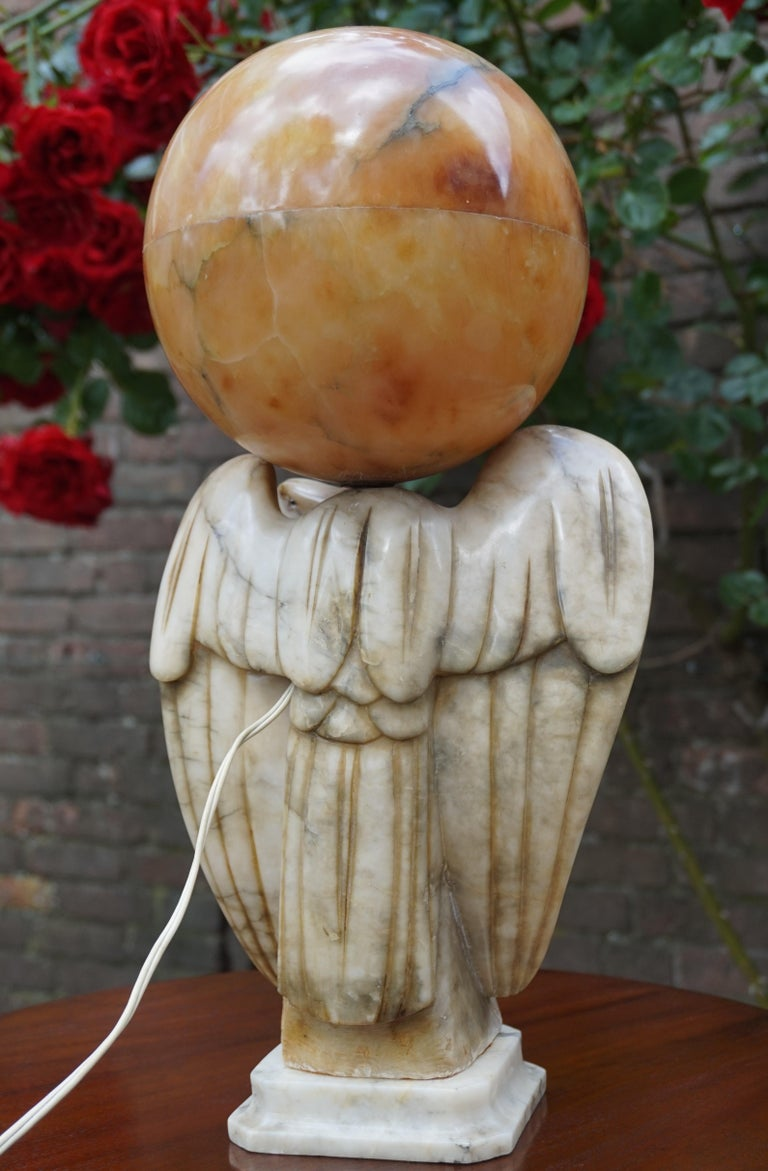 Hand Carved Art Deco Era Marble Eagle And Alabaster Globe