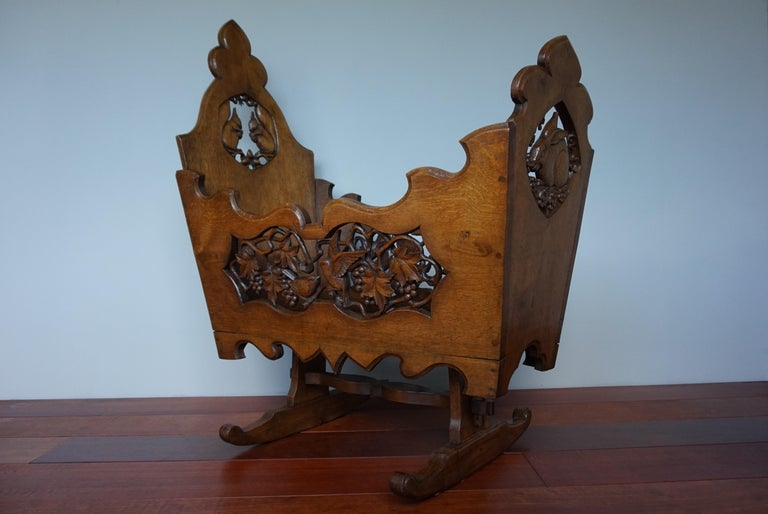 Hand Carved Arts & Crafts Baby or Doll Bed / Crib with Squirrel Rabbit & Sparrow For Sale 2