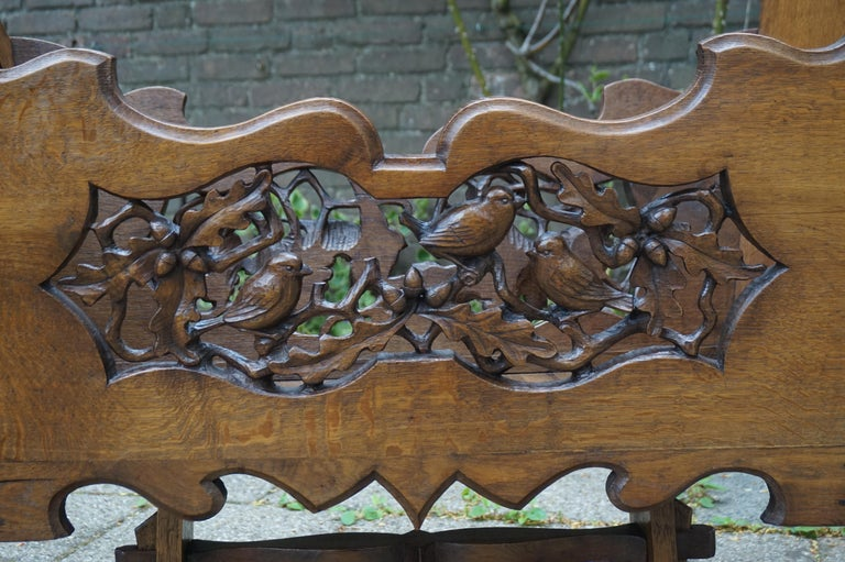 Hand Carved Arts & Crafts Baby or Doll Bed / Crib with Squirrel Rabbit & Sparrow For Sale 4