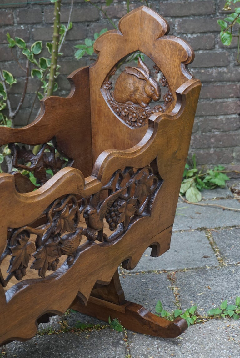 Hand Carved Arts & Crafts Baby or Doll Bed / Crib with Squirrel Rabbit & Sparrow For Sale 5