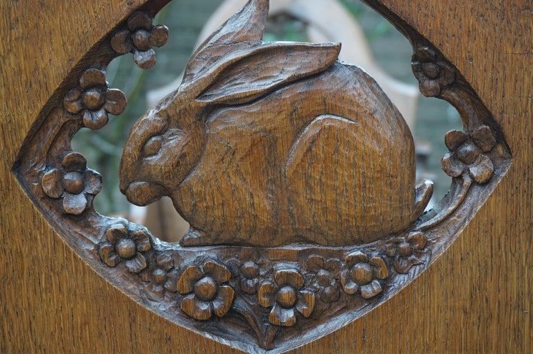 Hand Carved Arts & Crafts Baby or Doll Bed / Crib with Squirrel Rabbit & Sparrow For Sale 7
