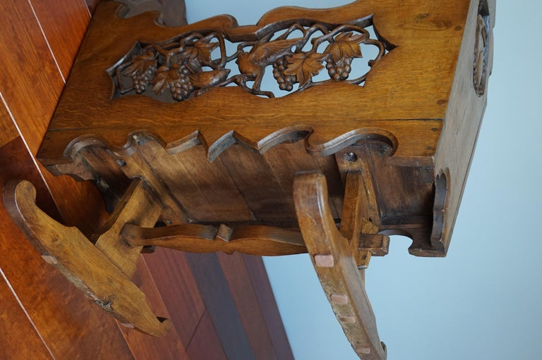 Hand Carved Arts & Crafts Baby or Doll Bed / Crib with Squirrel Rabbit & Sparrow For Sale 8