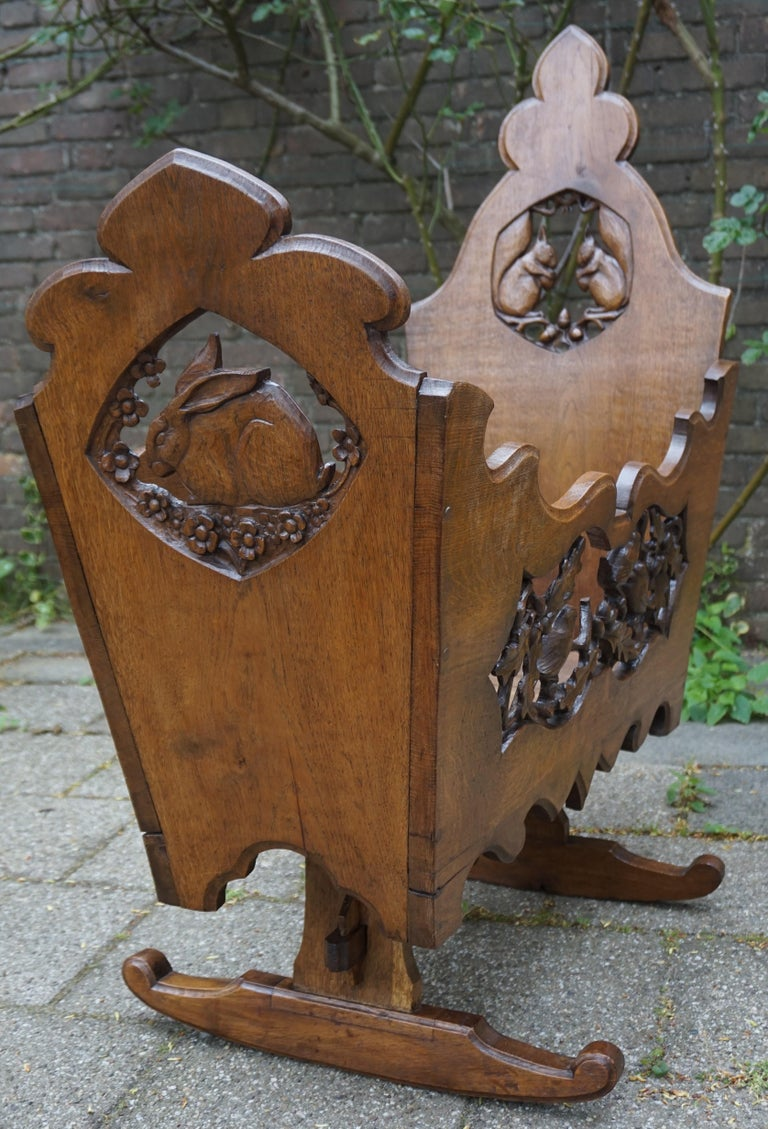 Hand Carved Arts & Crafts Baby or Doll Bed / Crib with Squirrel Rabbit & Sparrow For Sale 9