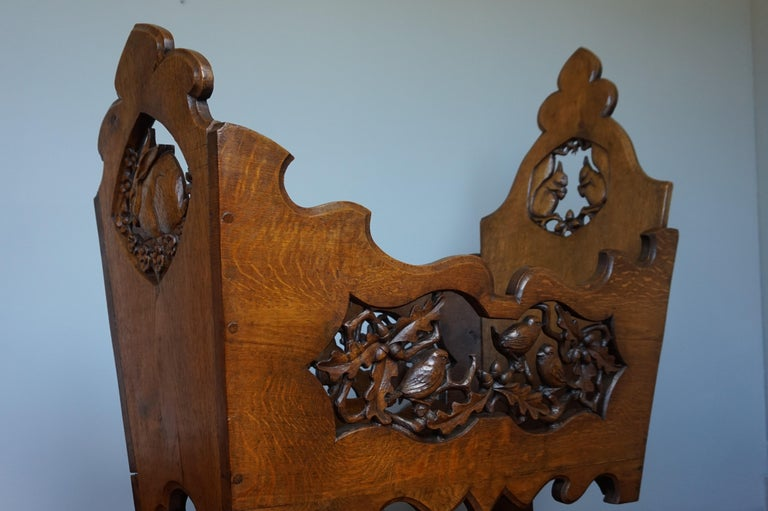 Hand Carved Arts & Crafts Baby or Doll Bed / Crib with Squirrel Rabbit & Sparrow For Sale 10