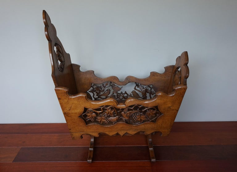 Hand Carved Arts & Crafts Baby or Doll Bed / Crib with Squirrel Rabbit & Sparrow For Sale 12