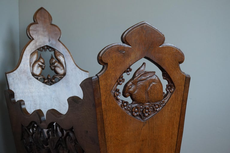 Black Forest Hand Carved Arts & Crafts Baby or Doll Bed / Crib with Squirrel Rabbit & Sparrow For Sale