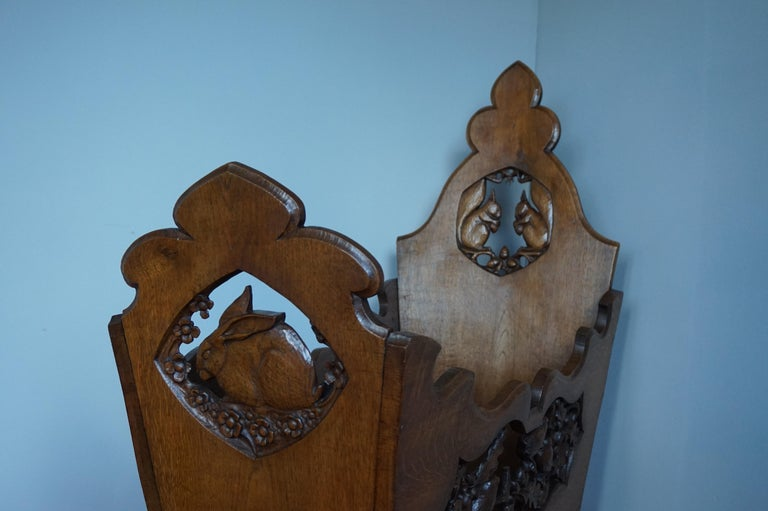 19th Century Hand Carved Arts & Crafts Baby or Doll Bed / Crib with Squirrel Rabbit & Sparrow For Sale