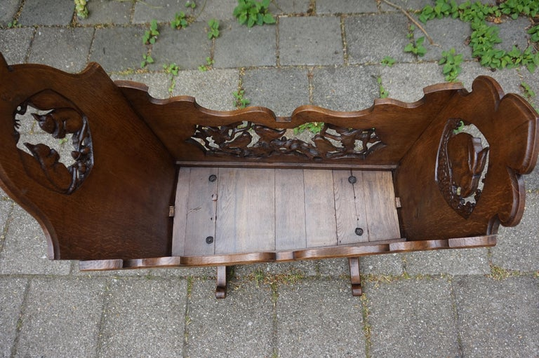 Oak Hand Carved Arts & Crafts Baby or Doll Bed / Crib with Squirrel Rabbit & Sparrow For Sale