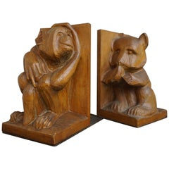Hand Carved Arts & Crafts Monkey and Bear Pair of Bookends / Naive Sculptures