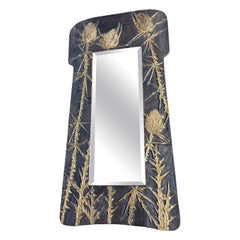 Hand Carved Arts & Crafts Style Wall Mirror with Gold Painted Thistle Sculptures