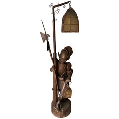Hand Carved Black Forest St. Wooden Floor Lamp of Lantern Holding & Tipsy Guard