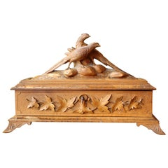 Hand Carved Black Forest Wood Jewelry Box with Birds and Leaves