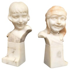 Hand-Carved Boy and Girl Alabaster Bust Set