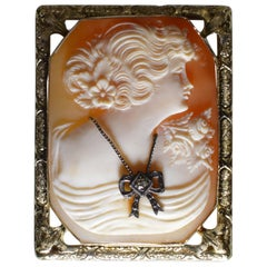 Hand Carved Cameo Brooch Pendant mounted in 14K Rose Gold Frame