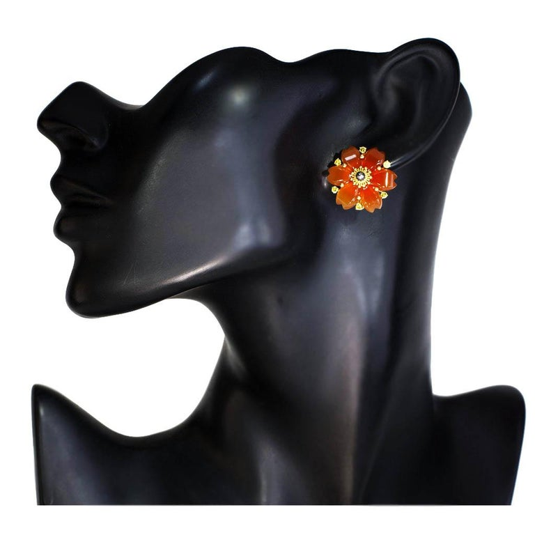 Hand Carved Carnelian Rutilated Quartz Sapphire Pearl Gold Convertible Earrings 6
