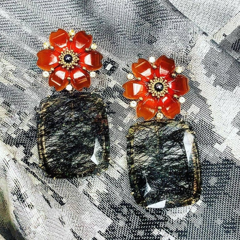 Hand Carved Carnelian Rutilated Quartz Sapphire Pearl Gold Convertible Earrings 9