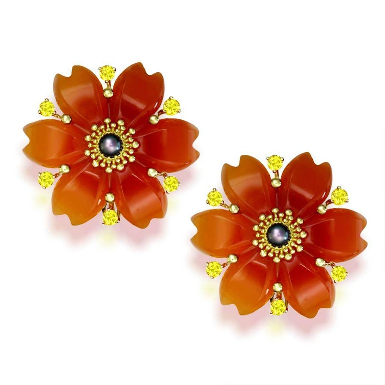Hand Carved Carnelian Rutilated Quartz Sapphire Pearl Gold Convertible Earrings In New Condition In New York, NY