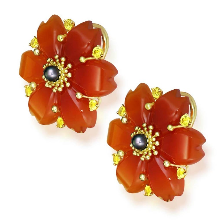 Women's or Men's Hand Carved Carnelian Rutilated Quartz Sapphire Pearl Gold Convertible Earrings