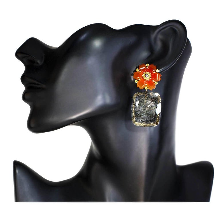 Hand Carved Carnelian Rutilated Quartz Sapphire Pearl Gold Convertible Earrings 4