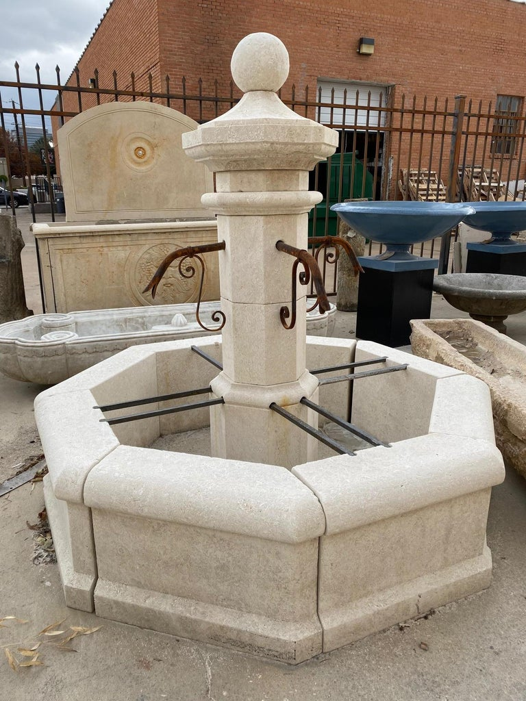 French Provincial Hand Carved Central Fountain For Sale
