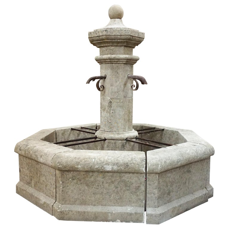 Hand Carved Central Fountain For Sale