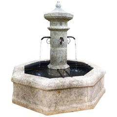 Hand Carved Central Octagonal Fountain