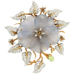 Hand Carved Chalcedony Flower Diamond Gold Leaf Brooch