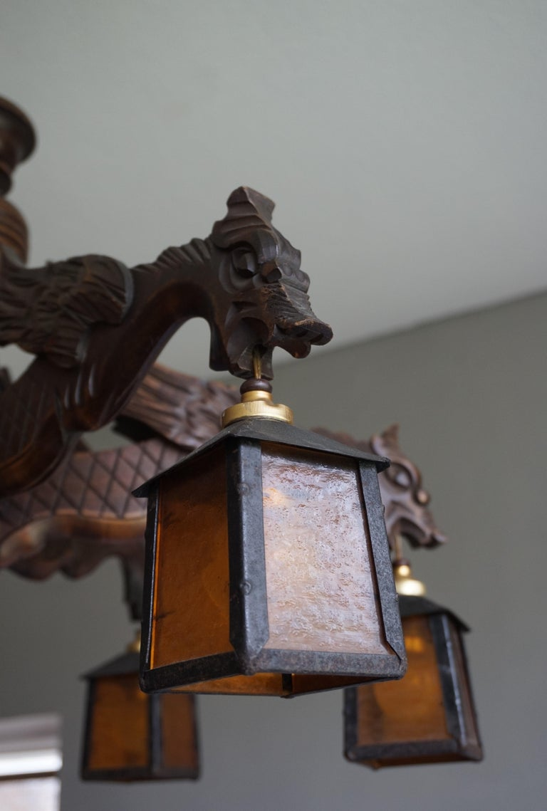 Hand Carved Chandelier in Medieval Gothic Style, Six Dragons Holding Lanterns For Sale 2