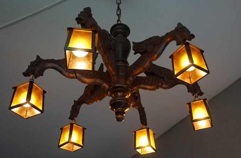 Hand Carved Chandelier in Medieval Gothic Style, Six Dragons Holding Lanterns For Sale 3