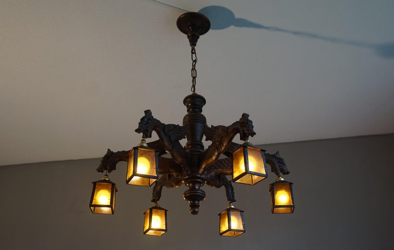 Hand Carved Chandelier in Medieval Gothic Style, Six Dragons Holding Lanterns For Sale 5