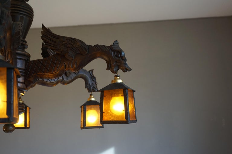 Hand Carved Chandelier in Medieval Gothic Style, Six Dragons Holding Lanterns For Sale 6