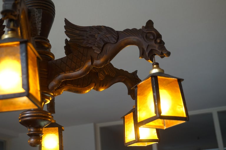 Hand Carved Chandelier in Medieval Gothic Style, Six Dragons Holding Lanterns For Sale 7