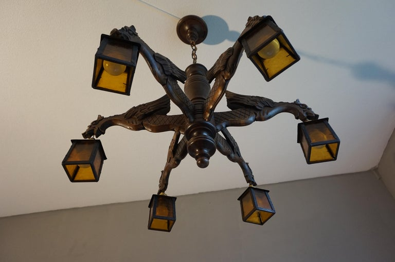 Hand Carved Chandelier in Medieval Gothic Style, Six Dragons Holding Lanterns For Sale 8