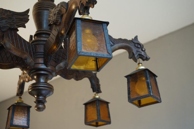Hand Carved Chandelier in Medieval Gothic Style, Six Dragons Holding Lanterns For Sale 9