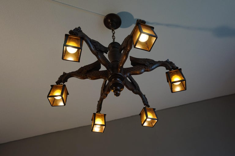 Hand Carved Chandelier in Medieval Gothic Style, Six Dragons Holding Lanterns For Sale 10