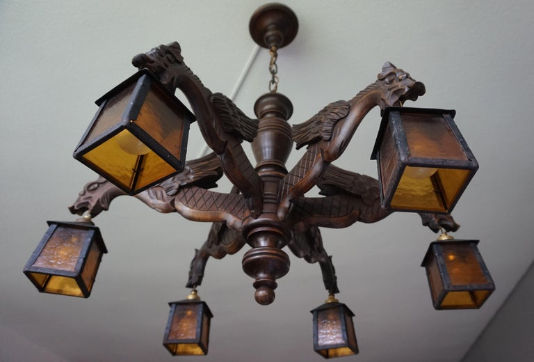 Gothic Revival Hand Carved Chandelier in Medieval Gothic Style, Six Dragons Holding Lanterns For Sale