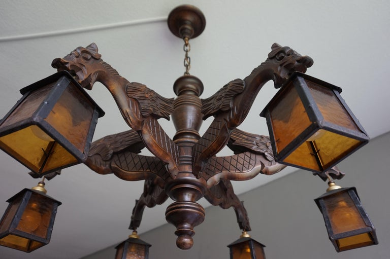 Hand-Carved Hand Carved Chandelier in Medieval Gothic Style, Six Dragons Holding Lanterns For Sale