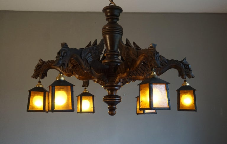 Hand Carved Chandelier in Medieval Gothic Style, Six Dragons Holding Lanterns In Excellent Condition For Sale In Lisse, NL