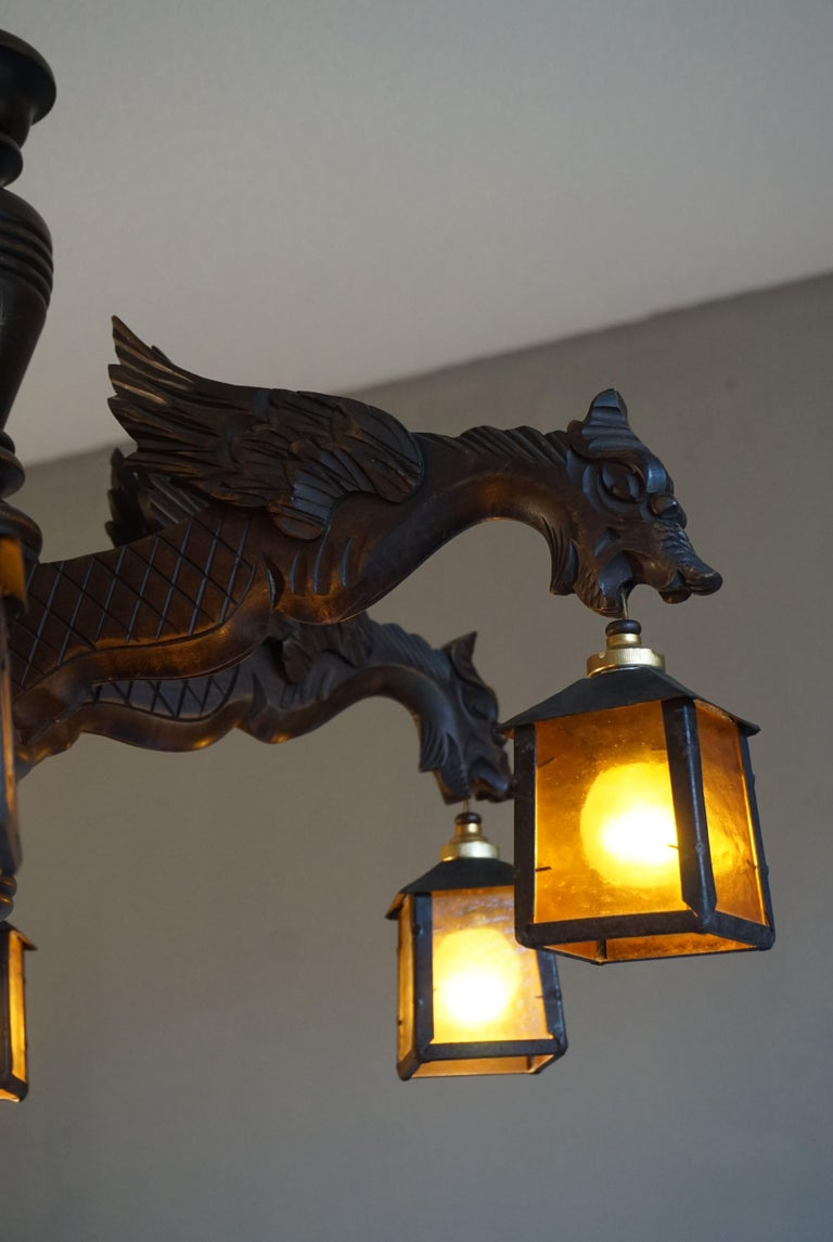 Hand Carved Chandelier in Medieval Gothic Style, Six Dragons Holding Lanterns For Sale 1