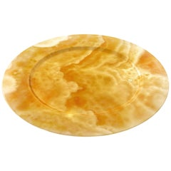 Hand Carved Charger Plate in Orange Onyx Contemporary Design by Pieruga Marble