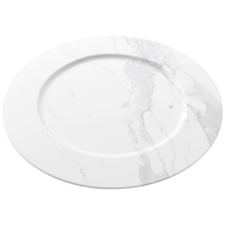 Hand Carved Charger Plate in White Statuary Marble Design by Pieruga Marble For Sale