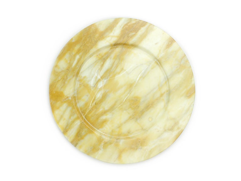 Italian Hand Carved Charger Plate in Yellow Siena Marble Design by Pieruga Marble For Sale