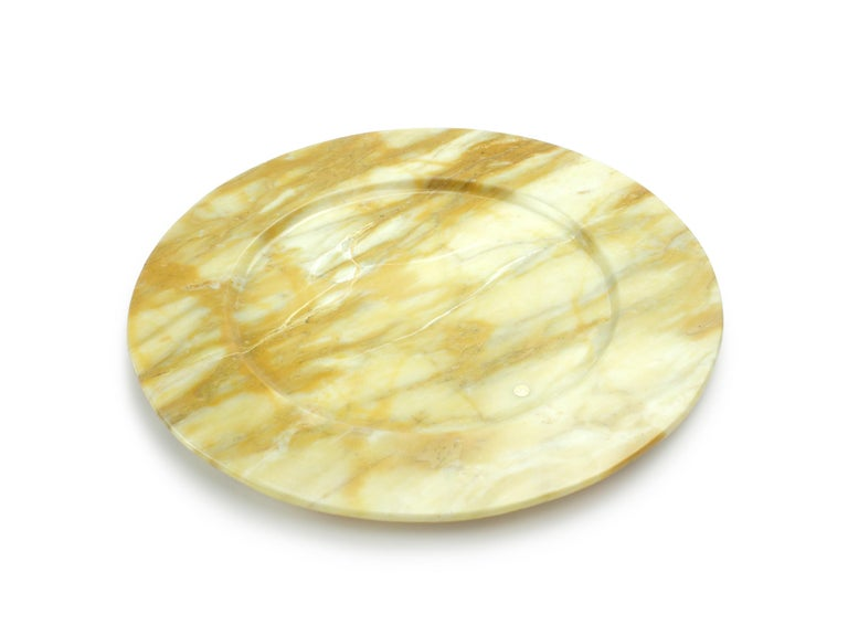 Hand-Carved Hand Carved Charger Plate in Yellow Siena Marble Design by Pieruga Marble For Sale