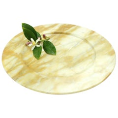 Hand Carved Charger Plate in Yellow Siena Marble Design by Pieruga Marble