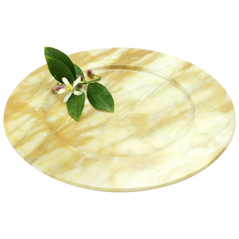 Hand Carved Charger Plate in Yellow Siena Marble Design by Pieruga Marble For Sale